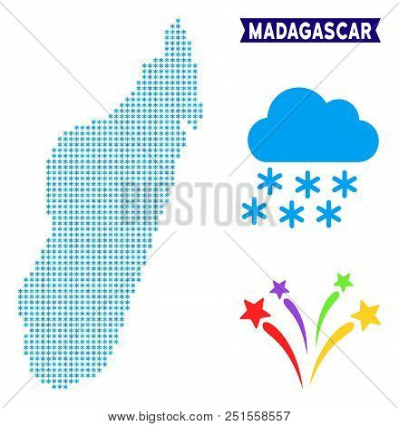 Freeze Madagascar Island Map. Vector Geographic Scheme In Blue Frosty Colors. Vector Mosaic Of Madag