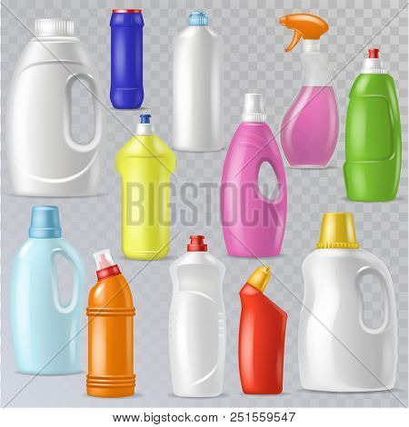 Detergent bottle vector plastic blank container with detergency liquid and mockup household cleaner product for laundry illustration set of cleanup deterge package isolated on transparent background. poster