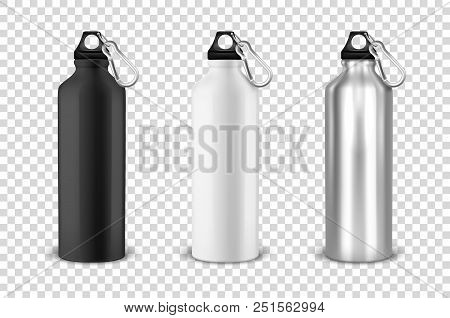 Vector Realistic 3d Black, White And Silver Empty Glossy Metal Water Bottle With Black Bung Icon Set
