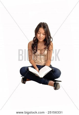 Girl Sitting  And Reading.