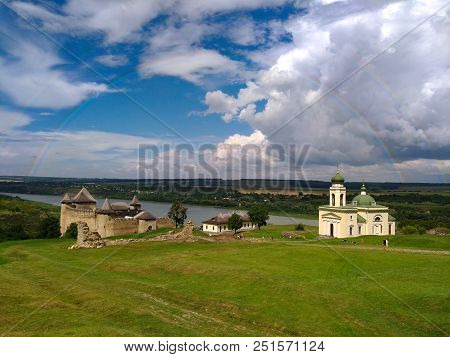 The Town Of Khotyn, View Of The Medieval Fortress Of Khotyn After The Rain, Dramatic Lighting, Sun,