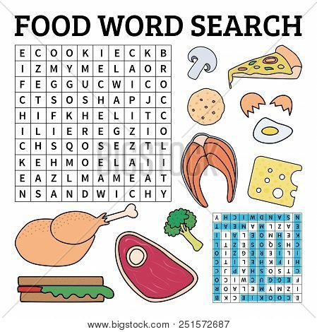 Learn English With A Food Word Search Game For Kids. Vector Illustration.