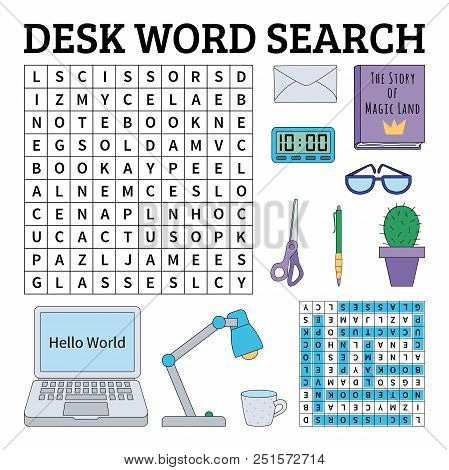 Learn English With A Desk Word Search Game For Kids. Vector Illustration.