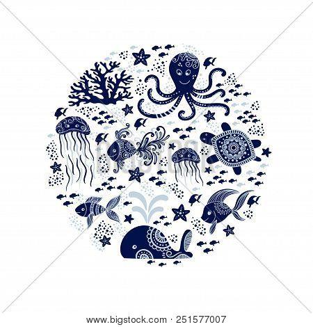 Cartoon Sea Animals In Circle Shape. Cute Underwater Creatures: Whale, Octopus, Jellyfish, Starfish