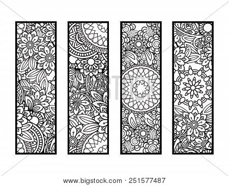 Set Of Four Bookmarks In Black And White. Doodles Flowers And Ornaments For Adult Coloring Book. Vec