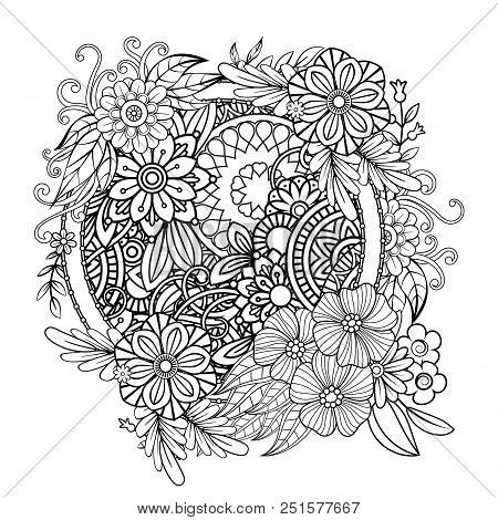 Adult Coloring Page With Flowers Pattern. Black And White Doodle Wreath. Floral Mandala. Bouquet Lin