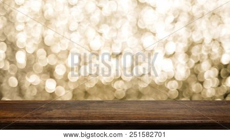 Empty Old Rustic Dark Wood Table Top With Blur Sparkling Gold Bokeh Abstract Background,panoramic Ba