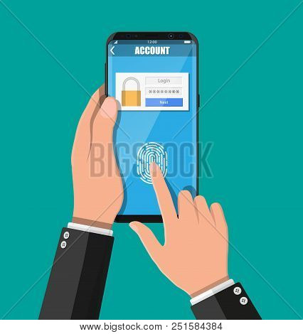 Hands With Smartphone Unlocked By Fingerprint Sensor. Mobile Phone Security, Personal Access Via Fin
