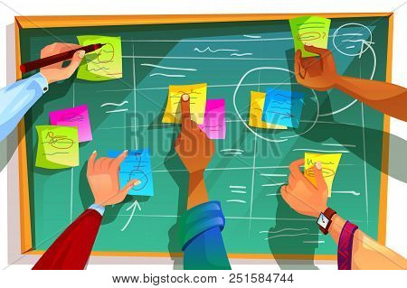 Kanban Board Vector Illustration For Agile Scrum Management And Teamwork Process Methodology. Team P