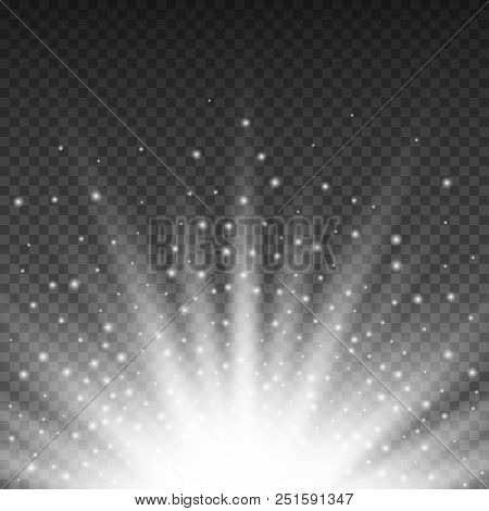 Gold Glowing Light Burst Explosion On Transparent Background. Bright Yellow Flare Effect Decoration