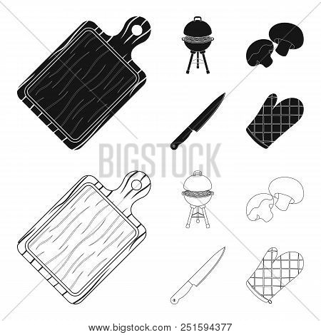 Barbeque Grill, Champignons, Knife, Barbecue Mitten.bbq Set Collection Icons In Black, Outline Style