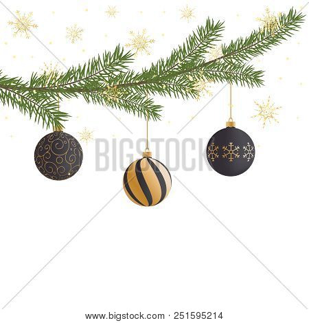 Realistic Vector Christmas Tree Branch, Balls, Gold Snowflakes And Sparkles. Pine Tree Branch With C