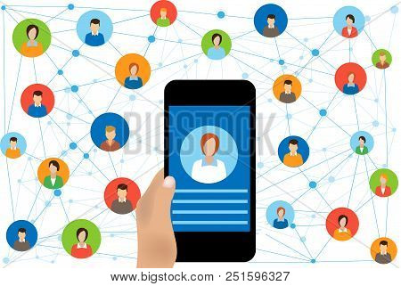 Social Network Connection And Global Business Communication Concept. Connecting People  Internet Net