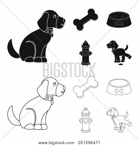 A Bone, A Fire Hydrant, A Bowl Of Food, A Pissing Dog.dog Set Collection Icons In Black, Outline Sty