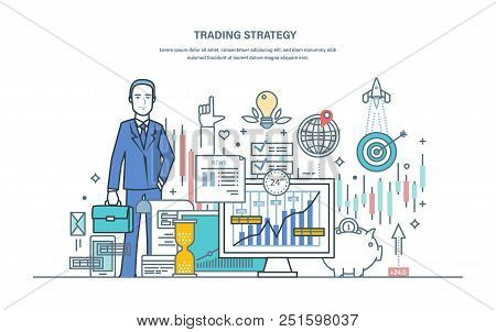 Trading Strategy. Financial Stock Market, Protection Of Capital Market, E-commerce. Businessman, Inv