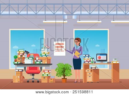 Young Girl, Office Worker, Conducts Seminar, Conference In Office, On Background Interior. Room With