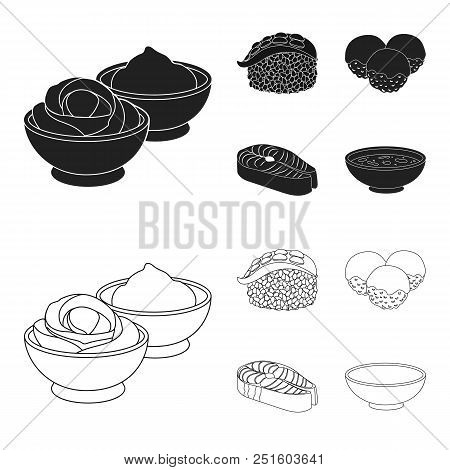 Wasabi Sauce And Ginger, Salmon Steak, Octopus. Sushi Set Collection Icons In Black, Outline Style V