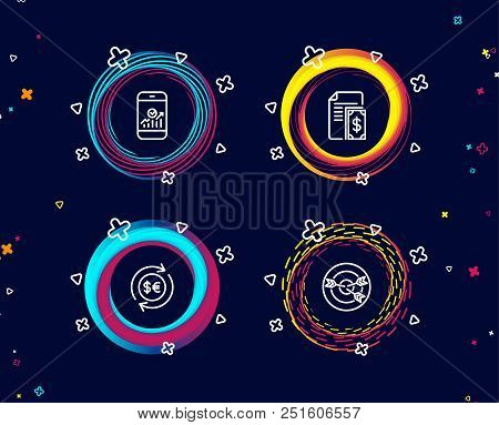 Set Of Smartphone Statistics, Money Currency And Payment Icons. Targeting Sign. Mobile Business, Cas