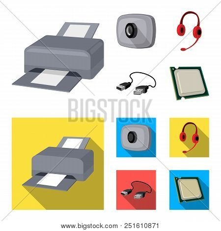 Webcam, Headphones, Usb Cable, Processor. Personal Computer Set Collection Icons In Cartoon, Flat St