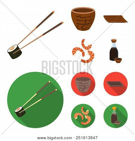 Sticks, Shrimp, Substrate, Bowl.sushi Set Collection Icons In Cartoon, Flat Style Vector Symbol Stoc