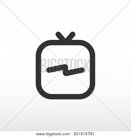 Tv Icon In Social Media. Igtv Logo Black. Mobile Tv Platform. Vector Illustration.