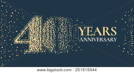 40 Years Anniversary Celebration Vector Icon, Logo. Template Horizontal Design Element With Golden G