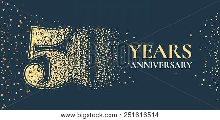 50 Years Anniversary Celebration Vector Icon, Logo. Template Horizontal Design Element With Golden G