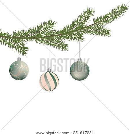 Realistic Vector Christmas Tree Branch And Balls. Pine Tree Branch With Christmas Balls. Silver And