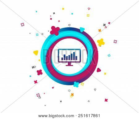 Computer Monitor Sign Icon. Market Monitoring. Colorful Button With Icon. Geometric Elements. Vector