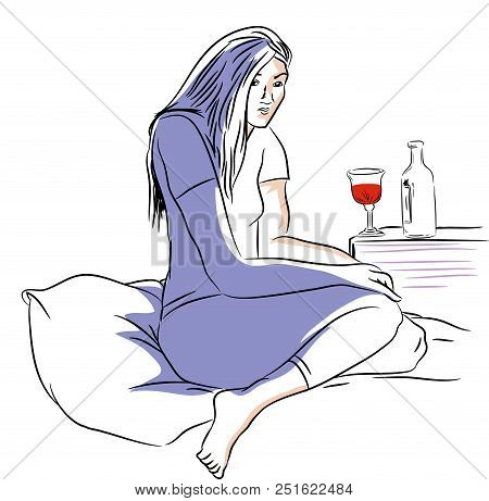 Drinking In The Night.  Alone And Unhappy Woman Drinking Wine On The Bed.