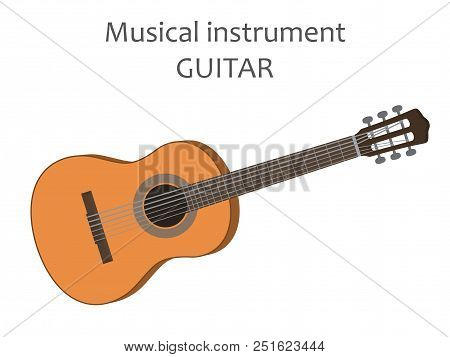 Acoustic Guitar. Vector Illustration Of Classical Wooden Guitar In Flat Style Isolated On White Back