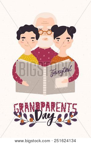 Grandfather Reading Book With Grandchildren. Granddad Telling Fairytales To His Gramdson And Grandda