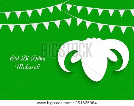 Illustration Of Face Of Goat And Decoration With Eid Al Adha Mubarak Text On The Occasion Of Muslim