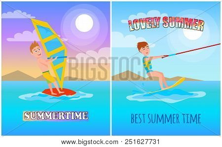 Lovely Summer, Best Time Color Vector Illustration, Sunny Day, Water Splashing, Kitesurfing And Wind