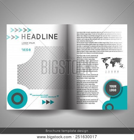 Corporate Bi-fold Brochure Template Design. Annual Report, Presentation, Book Cover Or Flyer.