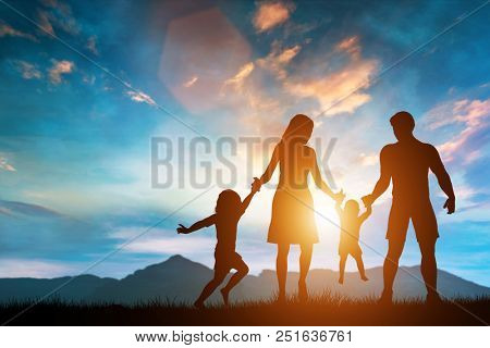 Happy mom and dad playing with their children. Raising children. Family fun. 3D illustration.