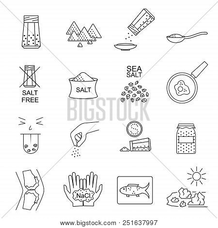 Salt Signs Black Thin Line Icon Set Include Of Spoon, Sprinkle Hand, Saltcellar And Fish. Vector Ill