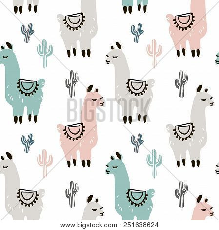 Childish Seamless Pattern With Hand Drawn Llama In Scandinavian Style. Creative Vector Childish Back
