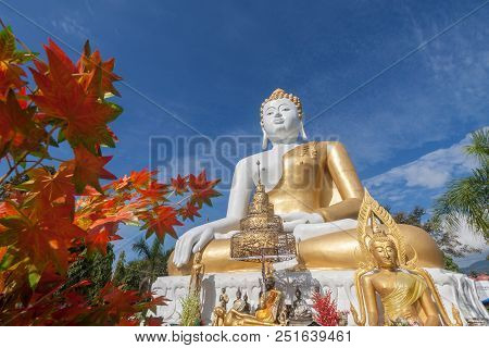 Golden Buddha  Statue At Chaing Mai , Thailand