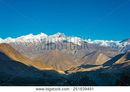 Snowy Mountain Peaks In The Himalayas, Nepal.