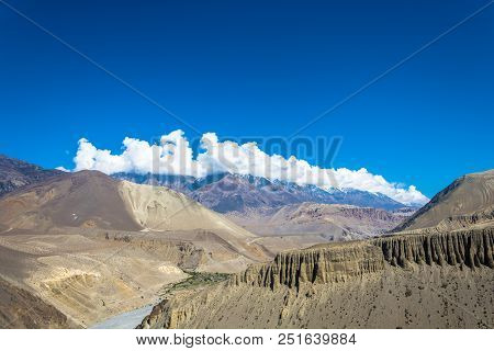 Mountain Landscape With Nepalese Village.