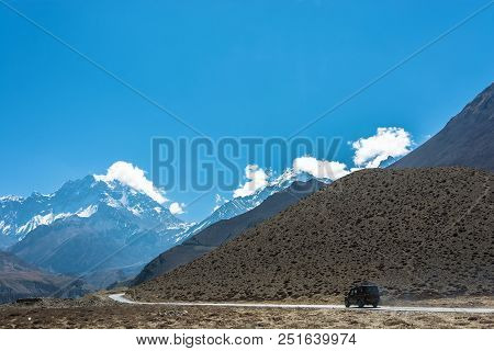 Asphalt Mountain Road In The Himalayas, Nepal.