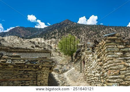 A Narrow Village Street In A Mountain Village, Nepal.