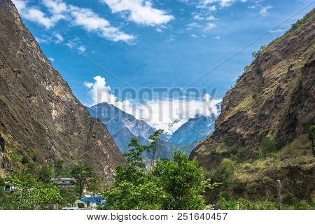 Mountain Gorge And Tatopani Village, Nepal.