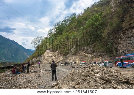 Track Around Annapurna, Nepal-09.04.2018: Forced Stop On Mountain Road 9 April 2018 Track Around Ann
