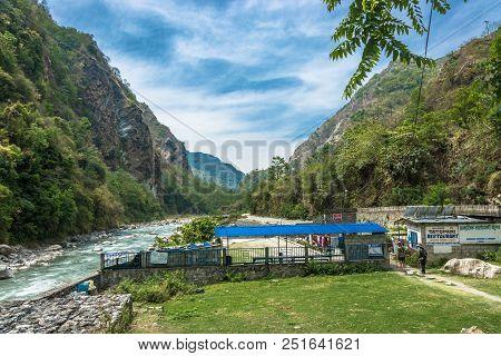 Tatopani, Nepal-09.04.2018: Entrance To The Hot Spring 9 April 2018 Tatopani, Nepal.