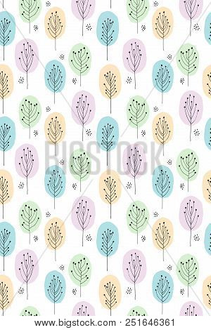 Cute Hand Drawn Abstract Trees Vector Pattern. Pastel Colours, White Background. Woodland Theme.