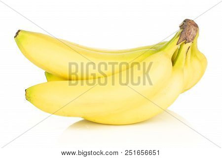 Group Of Five Whole Fresh Yellow Banana One Cluster Side View Isolated On White Background