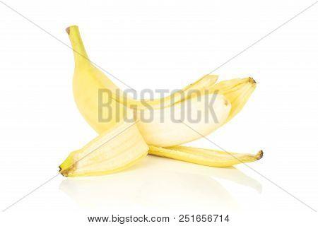One whole opened fresh yellow banana isolated on white background poster