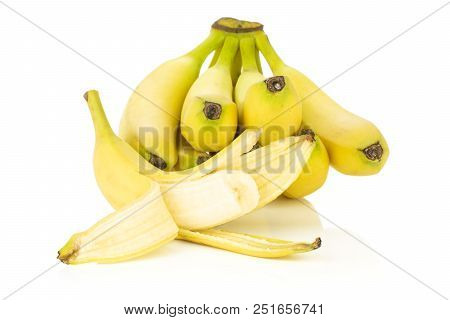Lot Of Whole Fresh Yellow Banana One Cluster And One Opened Isolated On White Background